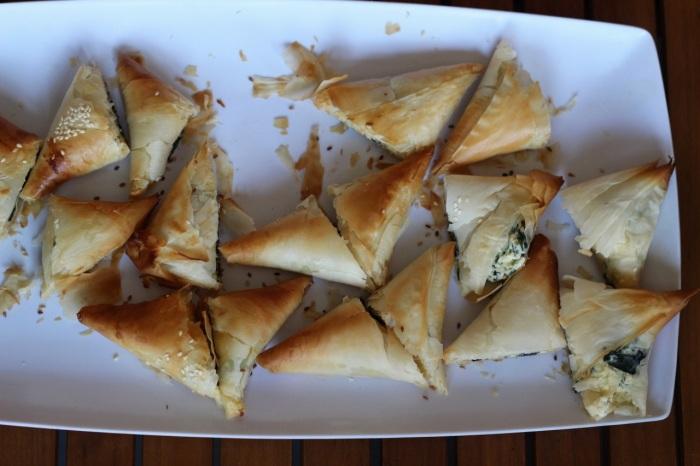 Brazilian spinach and feta triangles