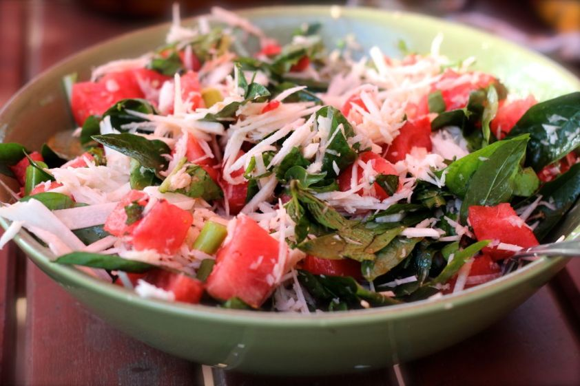 Watermelon, sweetleaf and coconut salad